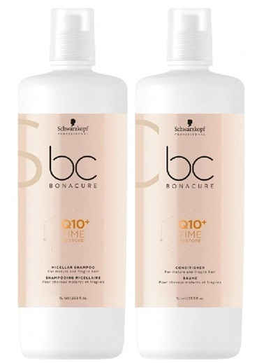 Bonacure Q10 Time Restore Şampuan 1000ml + Krem 1000ml Renksiz